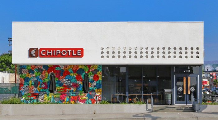 The exterior of a Chipotle in Los Angeles.