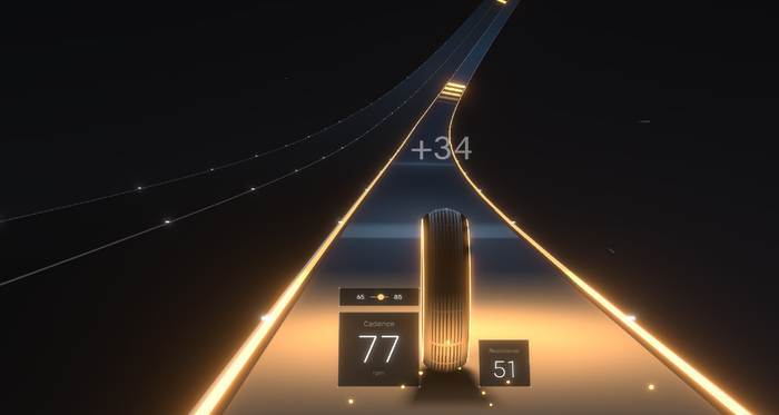 A screengrab from the new Peloton game Lanebreak shows an image of a tire rolling down a road.