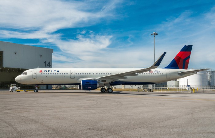 A Delta Air Lines plane parked in front of a hangar.
