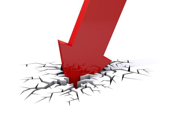 red arrow crashing through the floor implying stock crashing.
