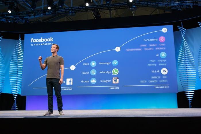Le PDG de Facebook, Mark Zuckerberg, présente son plan sur 10 ans lors de la conférence F8 en 2016.