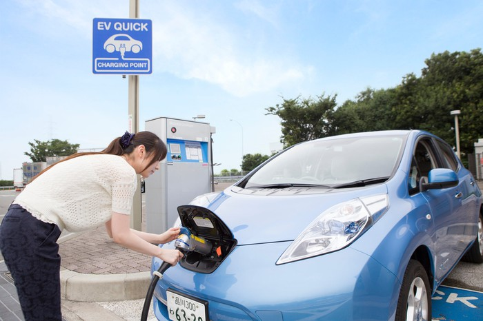 A person charging an electric car at an electric-vehicle charging station.