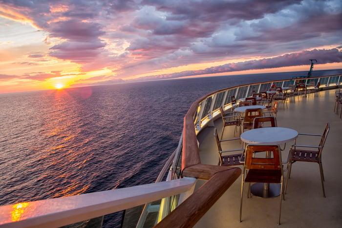 An empty deck on a cruise ship.