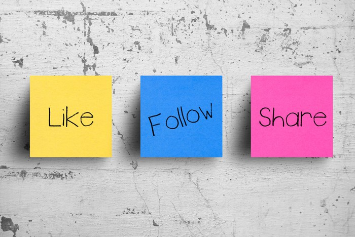 """Three sticky notes labeled """"like,"""" """"follow,"""" """"share."""""""