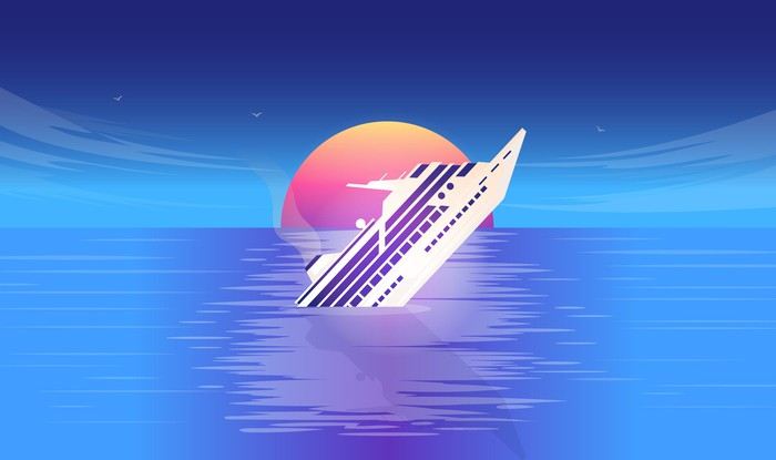 Image of a cruise ship sinking at sunset.