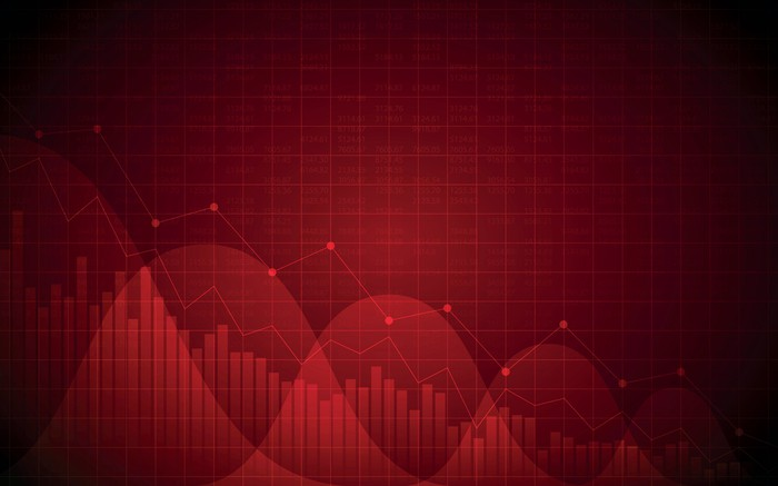 Line and bar graphs on a dark red background.
