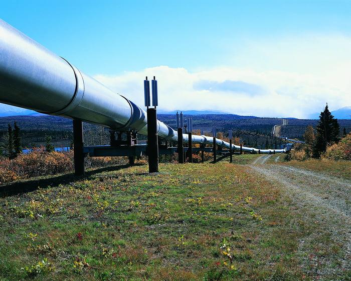An aboveground pipeline.