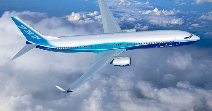 Boeing 737 aircraft in flight.