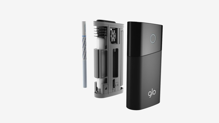 glo heated tobacco device separated into component parts.