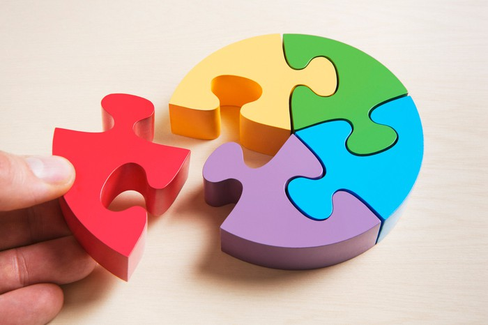A hand holds one piece of a 5-piece colorful puzzle.