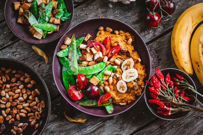 Spread of vegan foods.