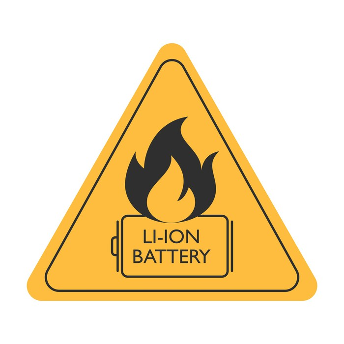 Triangular yellow caution sign showing a fire and the words LI-ION BATTERY