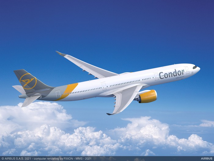 A rendering of an A330-900neo in the Condor livery in flight, with clouds in the background.