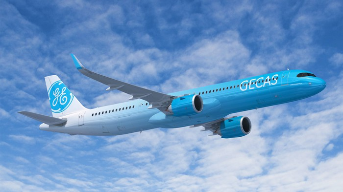 An Airbus jet in the GECAS livery.
