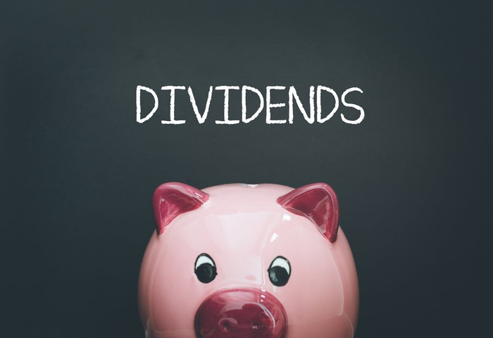 """A piggy bank with the word """"dividends"""" written in chalk above it."""