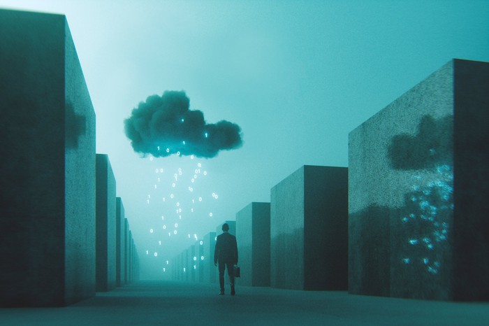 A man with briefcase walks down an empty street with a cloud over him and electric lights raining down.