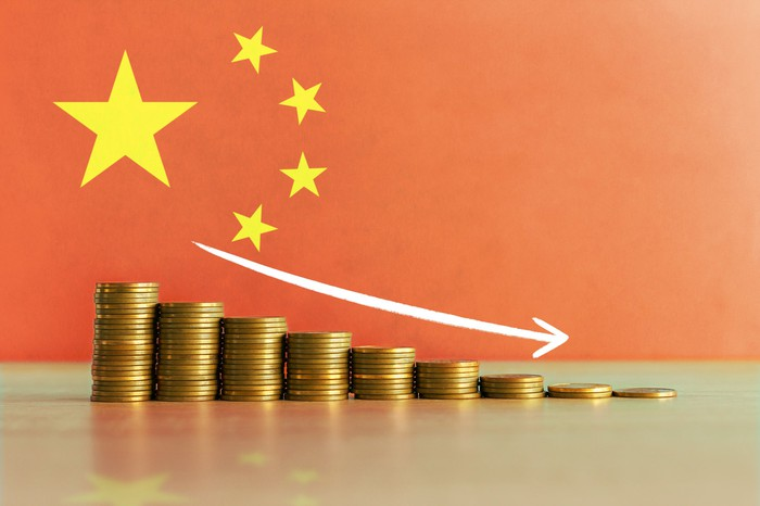 Descending stacks of coins with a Chinese flag in the background.