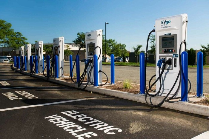 EVgo charging stations in a parking lot.
