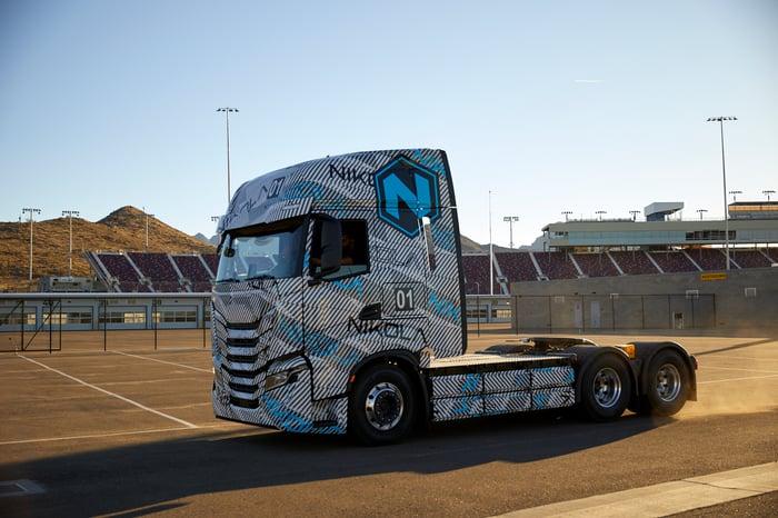 Nikola Tre battery electric semi truck on track.
