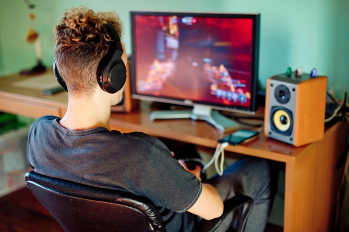 Person playing video game.