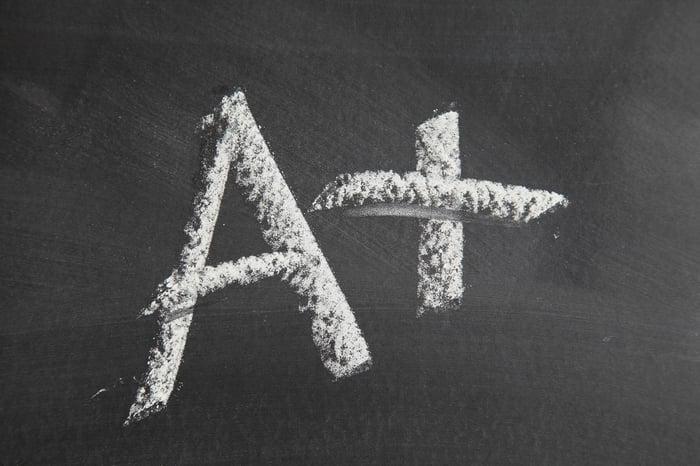 A+ written in chalk on a blackboard