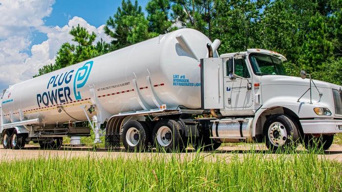 Plug Power hydrogen tanker truck.