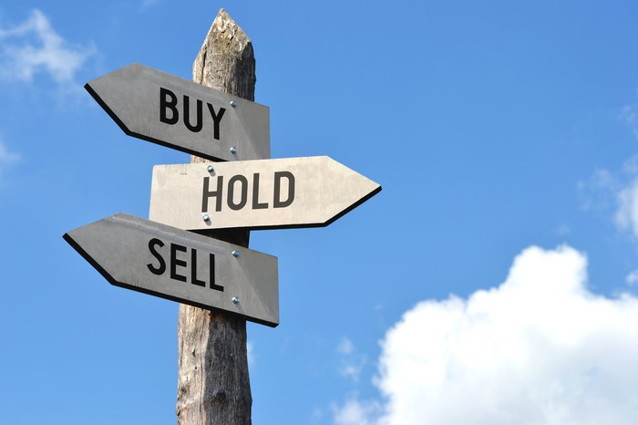 A signpost with arrows pointing in different directions reading buy, hold, and sell.