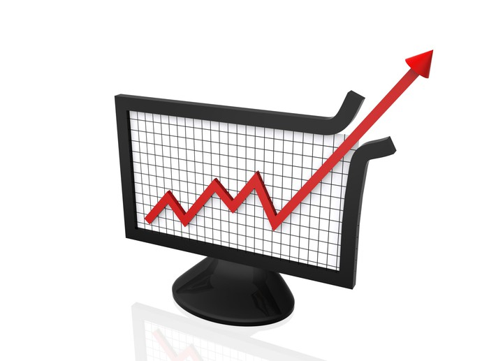 Rising chart punching through the upper edge of a computer monitor.