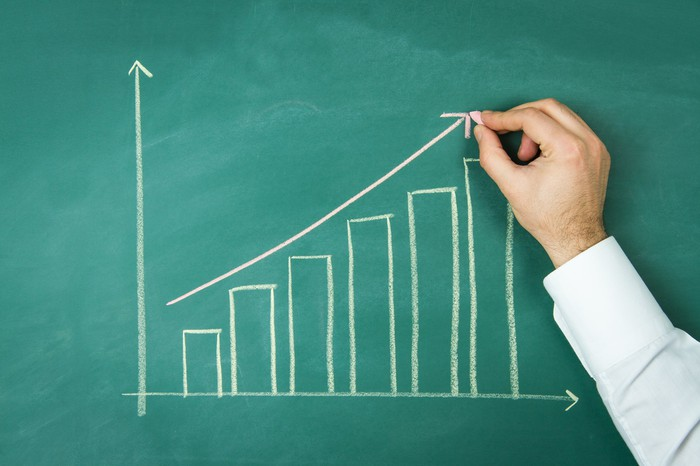 Business person plotting a rising bar chart on a chalkboard.