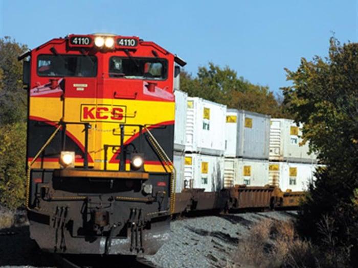 A Kansas City Southern train pulling cargo.