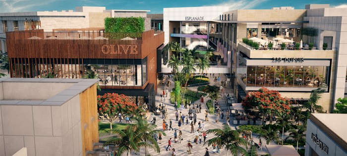 A render of the Aventura, Florida redevelopment project from Seritage.