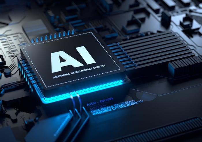 AI chip glowing blue.