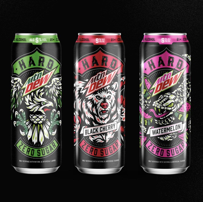 Three cans of Hard Mtn Dew.