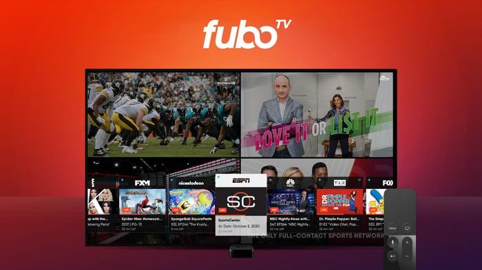 TV panel displays fuboTV և TV remote control screen interaction screen