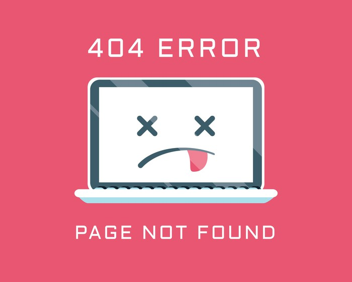 Sick computer icon with words 404 ERROR PAGE NOT FOUND