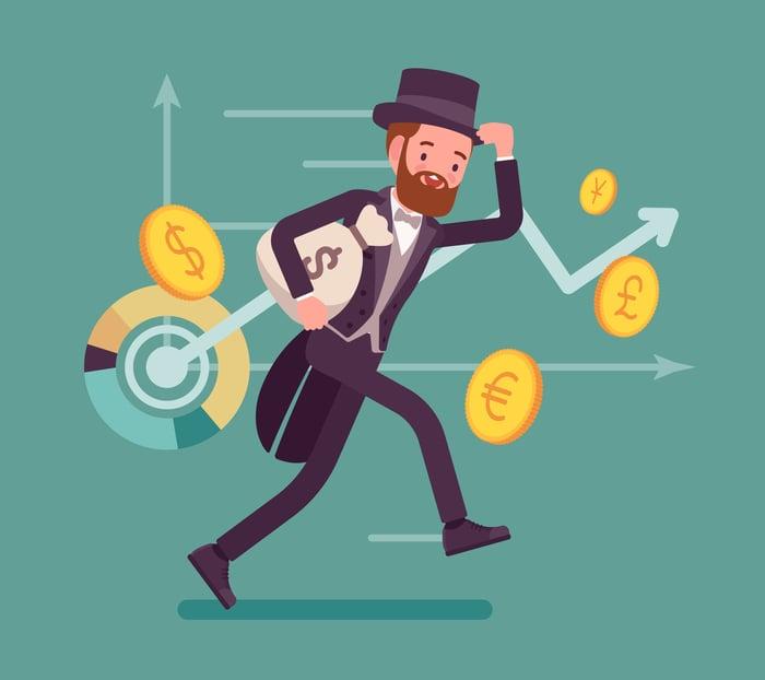 Cartoon person running with moneybag.