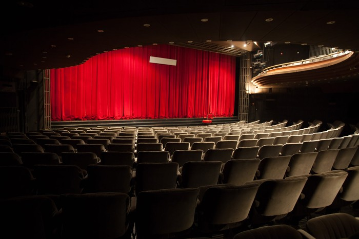Empty theater with red curtain.