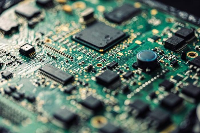 A computer chip.