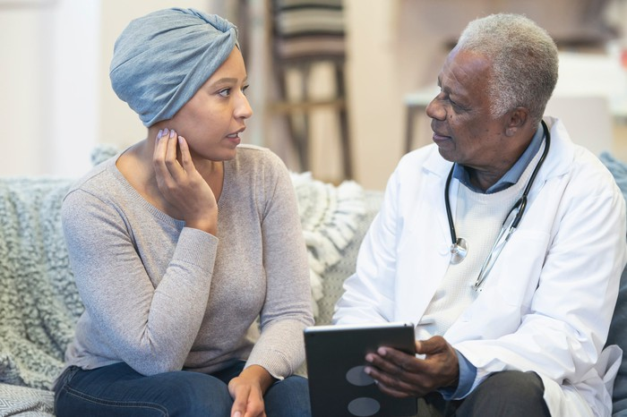 A patient talks to her doctor.
