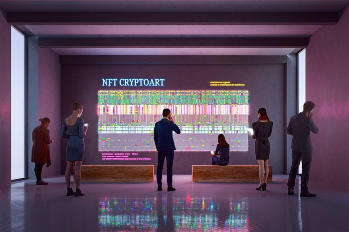 Illustration of people visiting an NFT CryptoArt display in an art gallery.