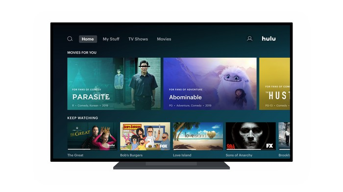 Hulu's user interface on a television screen.