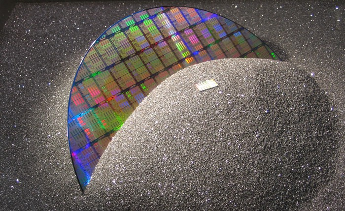 A silicon wafer.