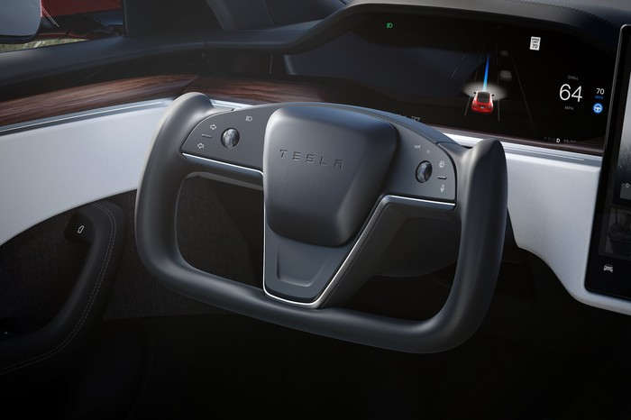 A close-up of the dashboard of a 2021 Tesla Model S.
