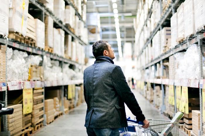 Man shopping in warehouse club