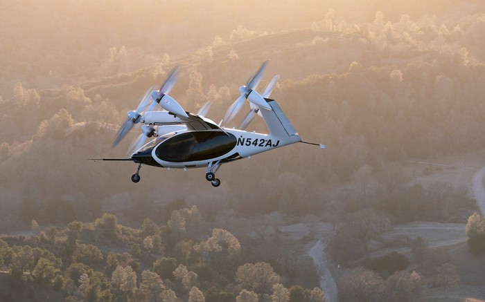Joby Aviation's all-electric prototype aircraft in flight above Big Sur, California.