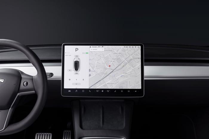 Tesla vehicle interior.