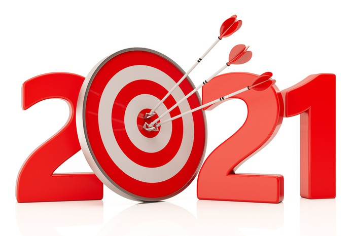 Red 2021 with three arrows in a bullseye painted on the 0