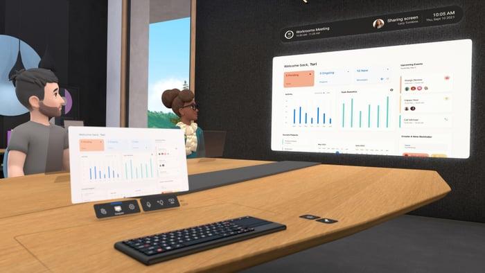 Horizon Workrooms shown in virtual reality.
