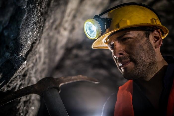 A miner working at an underground mine.