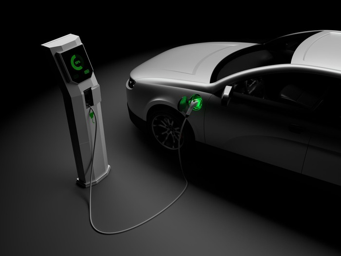 A white electric car charging its battery with a green light coming from charging port.